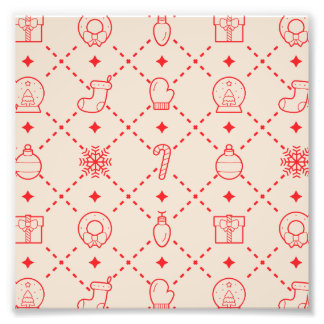 Red and Cream Christmas Symbols Seamless Pattern Photo