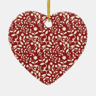 Red and Cream Floral Ceramic Heart Decoration