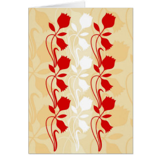 Red and Cream Floral Print Greetings Card