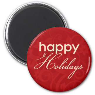 Red and Cream Happy Holidays Magnet