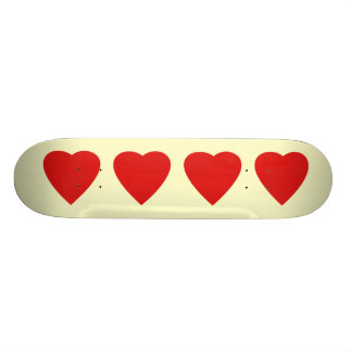 Red and Cream Love Heart Design. 19.7 Cm Skateboard Deck