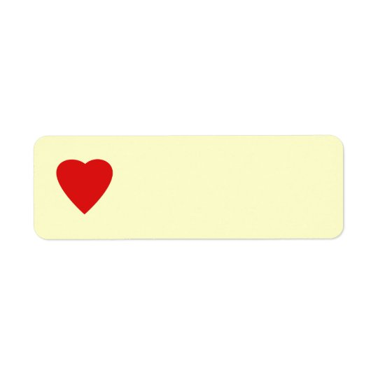 Red and Cream Love Heart Design. Return Address Label