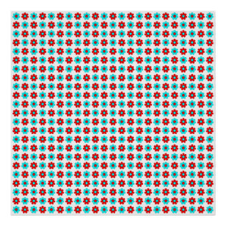Red and cyan flowers poster