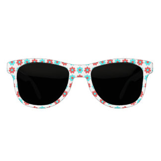 Red and cyan flowers sunglasses