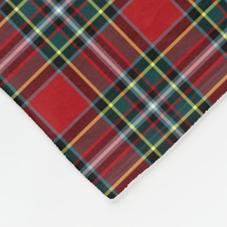 Red and Forest Green Gillespie Clan Tartan Fleece Blanket
