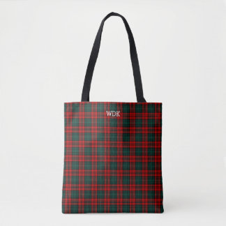 Red and Forest Green Kerr Tartan Monogram Tote Bag