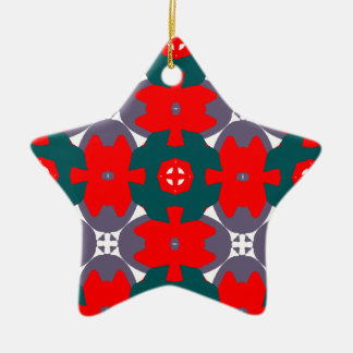 Red and Forest Green Star Christmas Ornament
