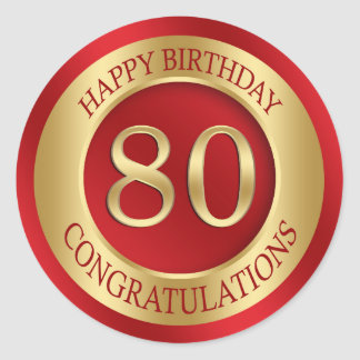 Red and gold 80th Birthday Classic Round Sticker