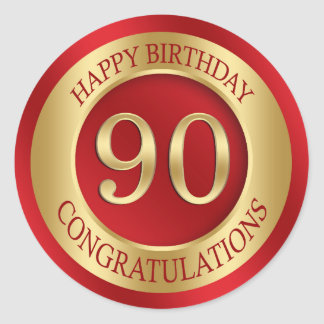 Red and gold 90th Birthday Round Sticker