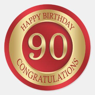 Red and gold 90th Birthday Round Sticker