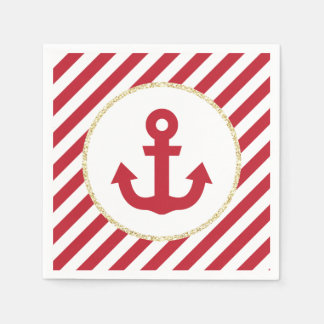 Red and Gold Anchor Napkins Paper Napkins