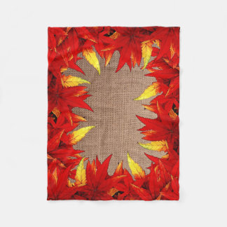 Red and Gold Autumn Leaves Rustic Blanket Fleece Blanket