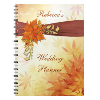 Red and gold autumn leaves Wedding Planner Spiral Notebook