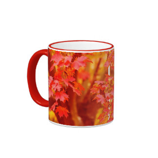 Red and Gold Autumn Mugs