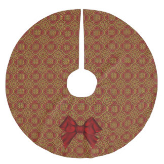 Red and Gold Brocade Look Christmas Tree Skirt