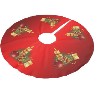 Red and Gold Candle Christmas Brushed Polyester Tree Skirt