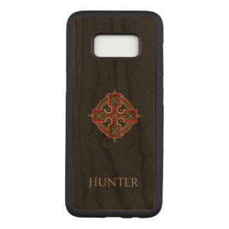 Red and Gold Celtic Cross Wood Carved Samsung Galaxy S8 Case