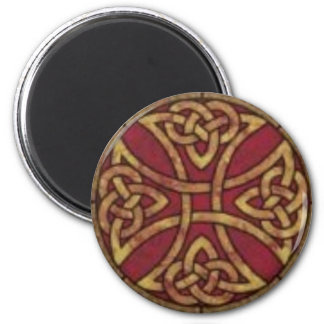 Red and Gold Celtic Knot 6 Cm Round Magnet