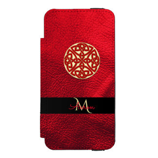Red and Gold Celtic Knot Monogram Incipio Watson™ iPhone 5 Wallet Case