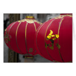 Red and Gold Chinese Lanterns Greeting Card