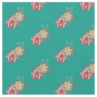 Red and Gold Christmas Ornaments on Green Fabric