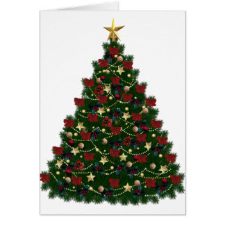 Red and Gold Christmas Tree Greeting Card