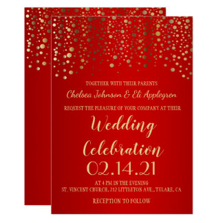 Red and Gold Confetti Dots Card