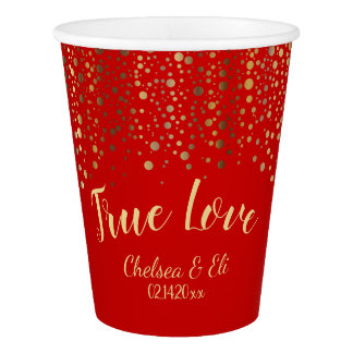 Red and Gold Confetti Dots Paper Cup
