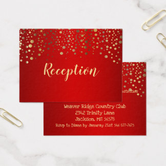Red and Gold Confetti Dots - Reception Business Card
