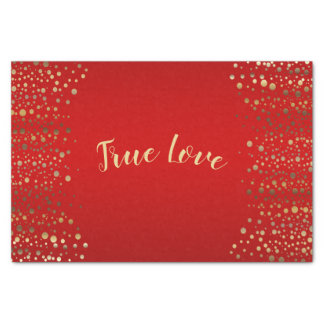 Red and Gold Confetti Dots Tissue Paper