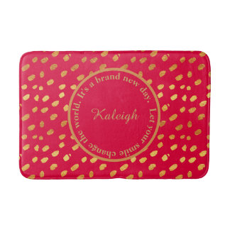 Red and Gold Confetti Inspirational Bath Mat