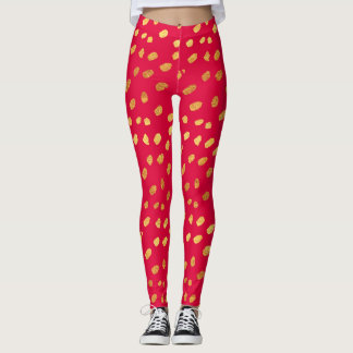 Red and Gold Confetti Leggings