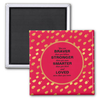 Red and Gold Confetti Words of Encouragement Magnet