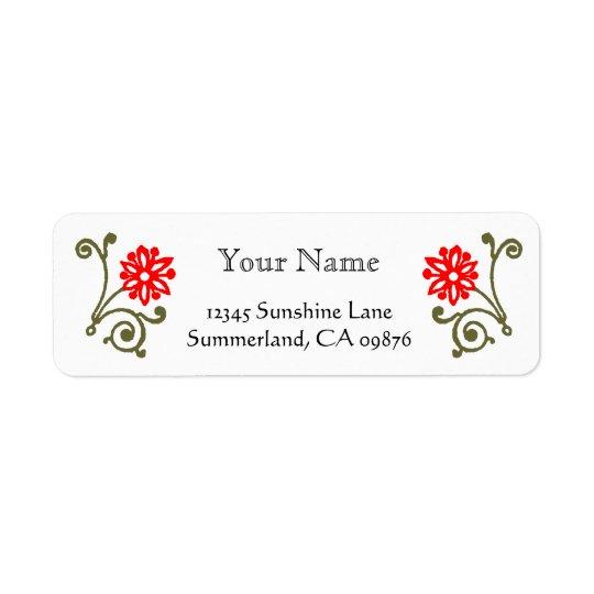 Red and Gold Daisy Etching Custom Return Address Return Address Label
