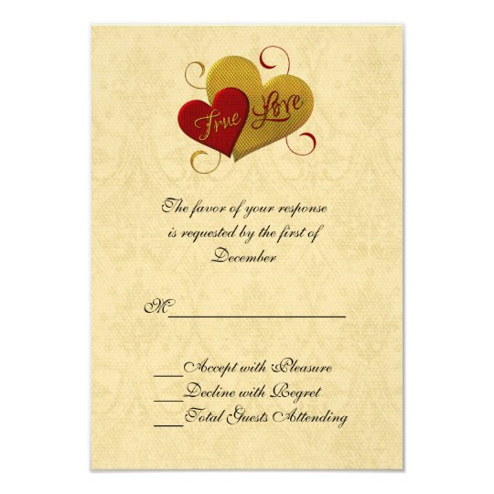 Red and Gold Double Heart Wedding RSVP Card
