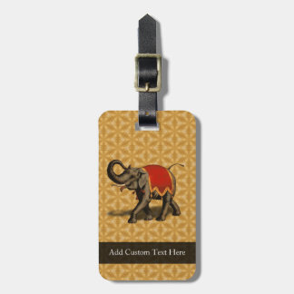 Red and Gold Elephant Luggage Tag