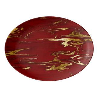 Red and Gold Faux Marble design Porcelain Serving Platter