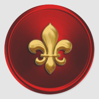 Red and Gold Fleur de Lis Envelope Seal Round Sticker