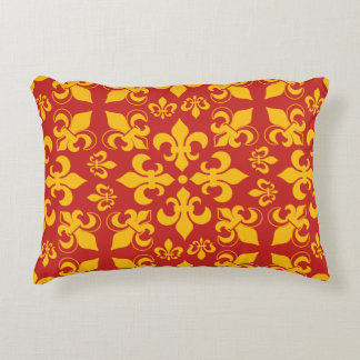 Red and Gold Fleur de Lis Pattern Decorative Cushion