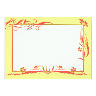 Red and gold floral ornament 13 cm x 18 cm invitation card