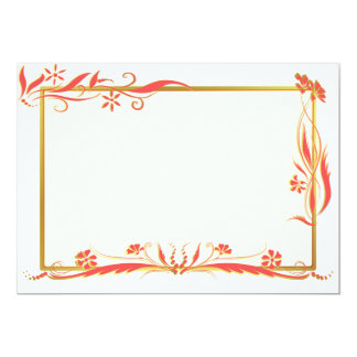 Red and gold floral ornament custom invite