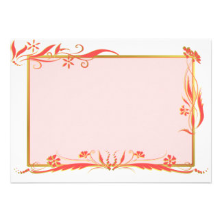 Red and gold floral ornament personalized announcement
