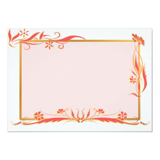 """Red and gold floral ornament 5"""" x 7"""" invitation card"""