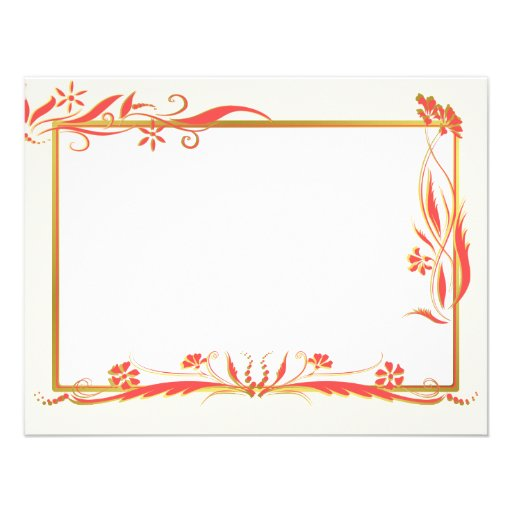 Red and gold floral ornament invitations