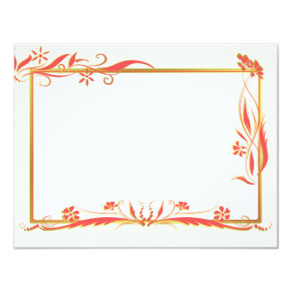 """Red and gold floral ornament 4.25"""" x 5.5"""" invitation card"""