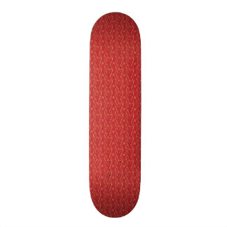 Red and Gold Floral Pattern Texture Design Custom Skateboard