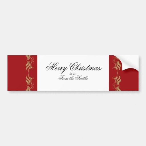 Red and Gold Floral Scroll Bumper Sticker