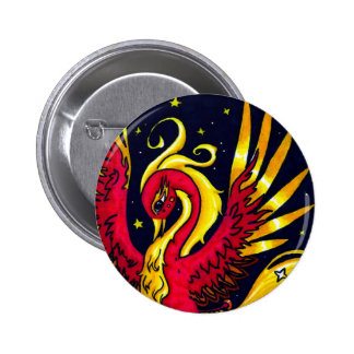 Red and Gold flying phoenix 6 Cm Round Badge
