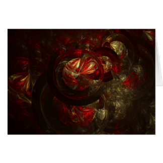 Red and Gold Fractal Ornament Card