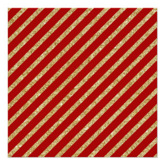 Red and Gold Glitter Diagonal Stripes Pattern